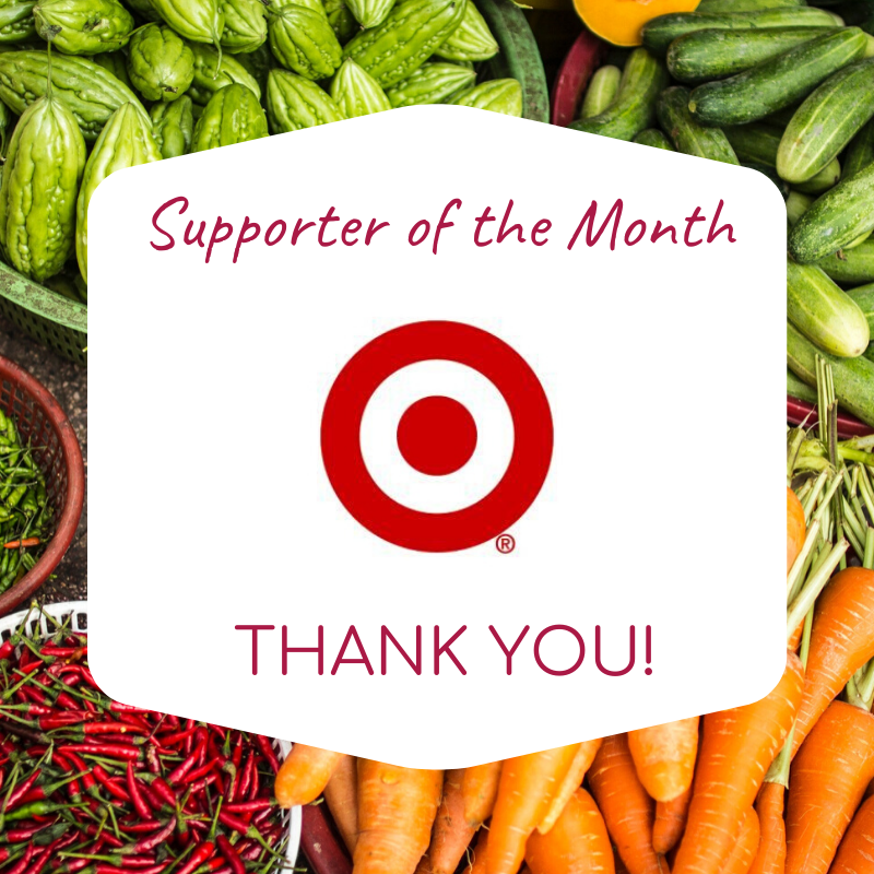 Supporter of the Month Thank you graphic with Target logo